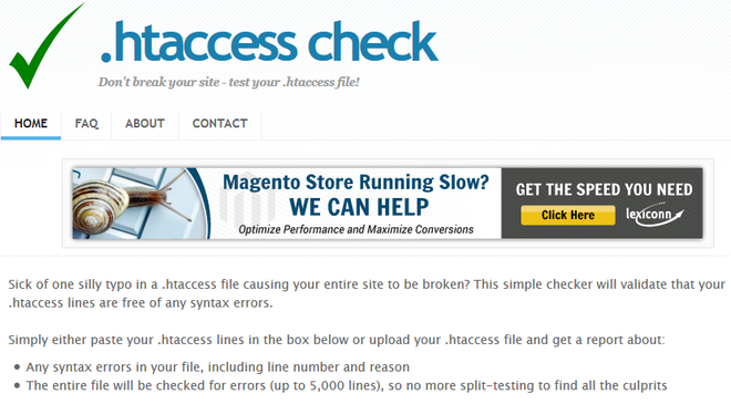 .htaccess check screenshot